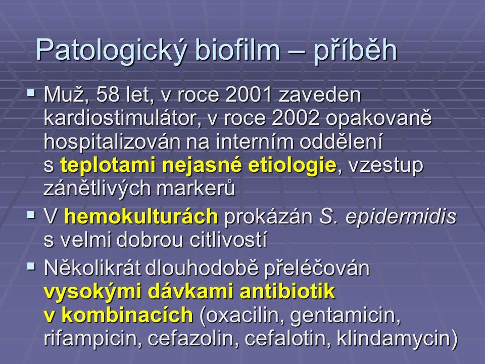 Patologický biofilm – příběh  Muž, 58 let, v roce 2001 zaveden kardiostimulátor, v roce 2002 opakovaně hospitalizován na interním oddělení s teplotam