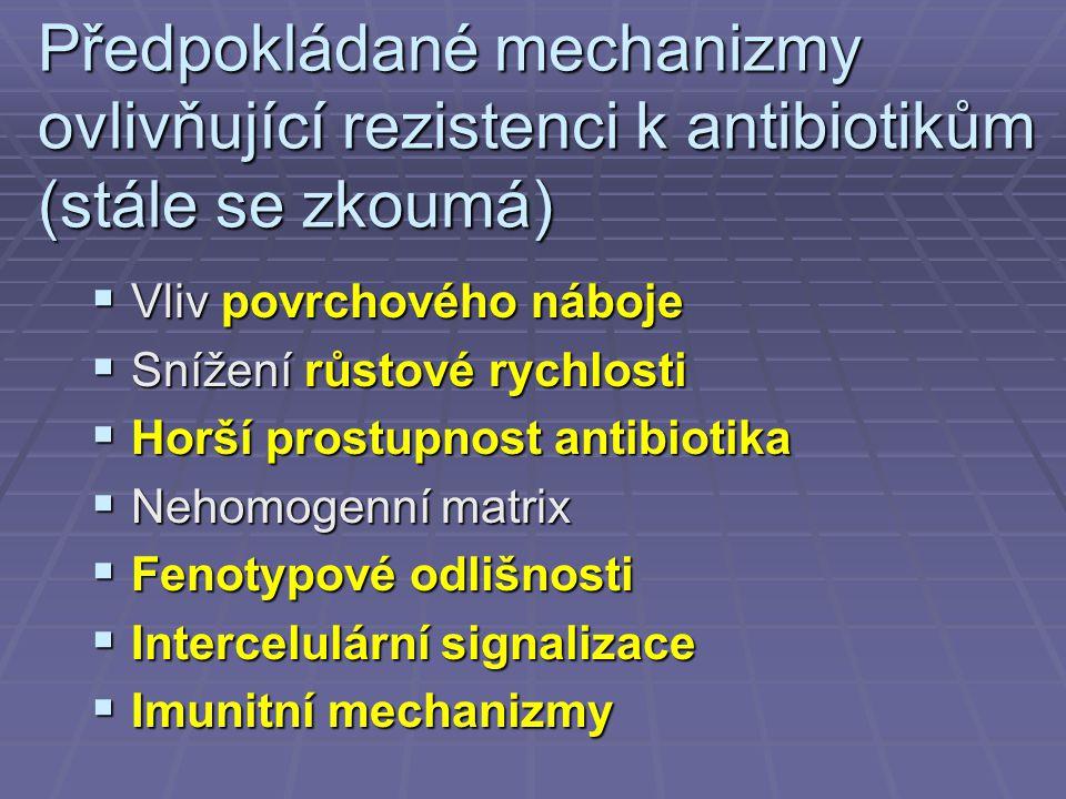 Předpokládané mechanizmy ovlivňující rezistenci k antibiotikům (stále se zkoumá)  Vliv povrchového náboje  Snížení růstové rychlosti  Horší prostup