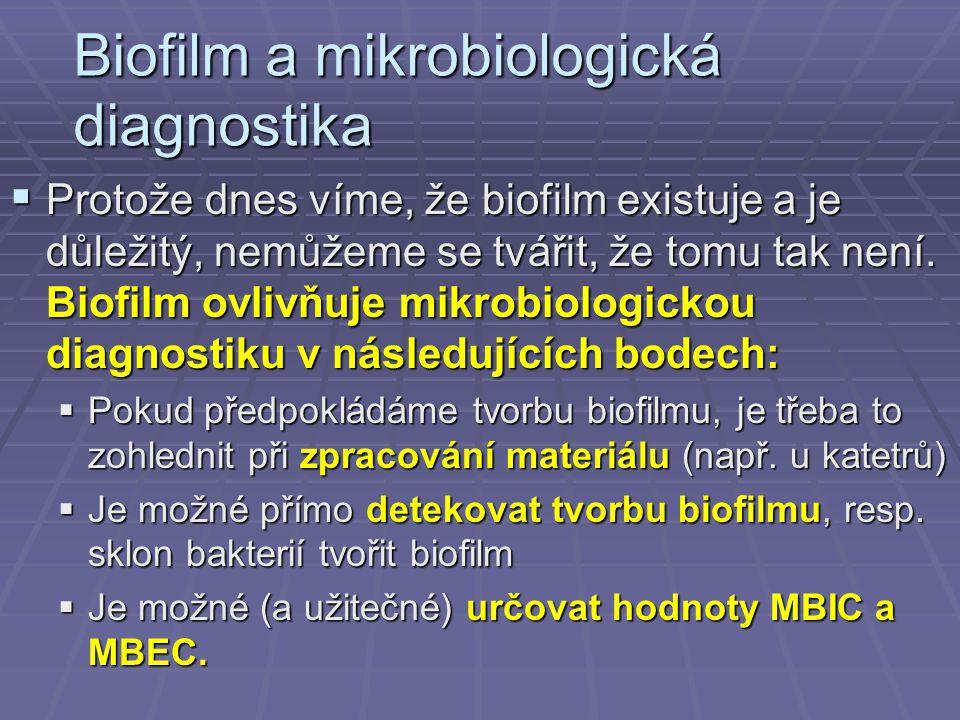 Biofilm a mikrobiologická diagnostika  Protože dnes víme, že biofilm existuje a je důležitý, nemůžeme se tvářit, že tomu tak není. Biofilm ovlivňuje