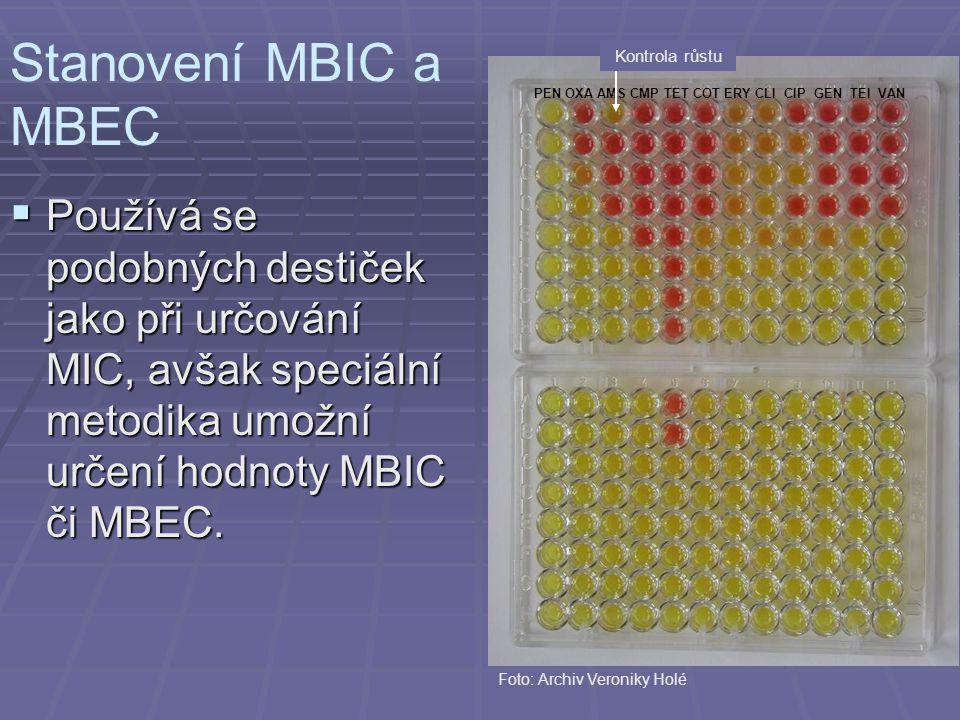 PEN OXA AMS CMP TET COT ERY CLI CIP GEN TEI VAN Kontrola růstu Stanovení MBIC a MBEC Foto: Archiv Veroniky Holé  Používá se podobných destiček jako p