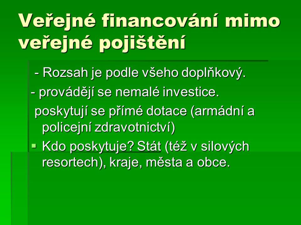 Veřejné financování mimo veřejné pojištění - Rozsah je podle všeho doplňkový. - Rozsah je podle všeho doplňkový. - provádějí se nemalé investice. posk