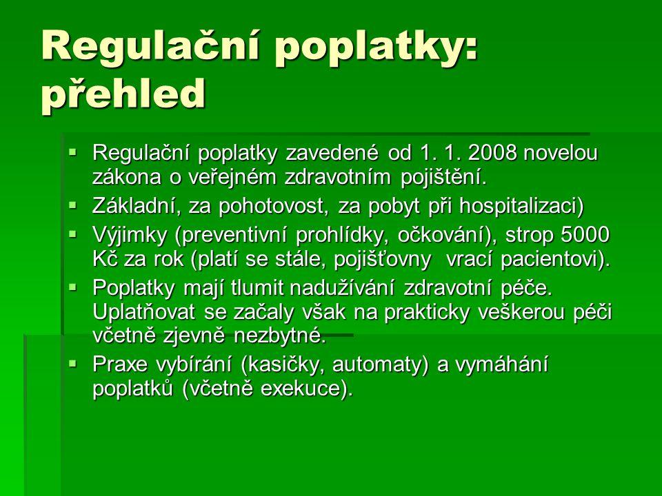 Regulační poplatky: přehled  Regulační poplatky zavedené od 1. 1. 2008 novelou zákona o veřejném zdravotním pojištění.  Základní, za pohotovost, za