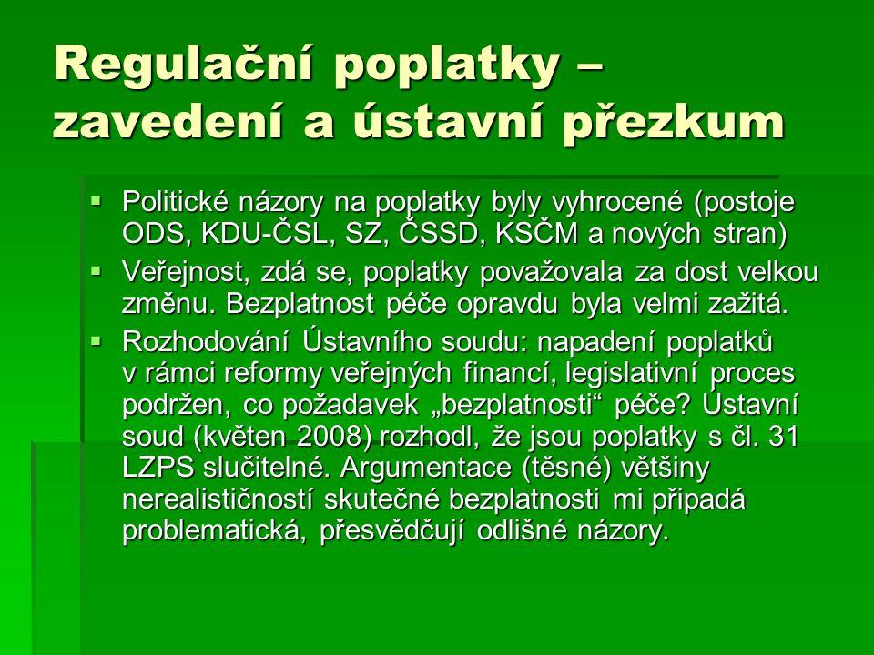Regulační poplatky – zavedení a ústavní přezkum  Politické názory na poplatky byly vyhrocené (postoje ODS, KDU-ČSL, SZ, ČSSD, KSČM a nových stran) 