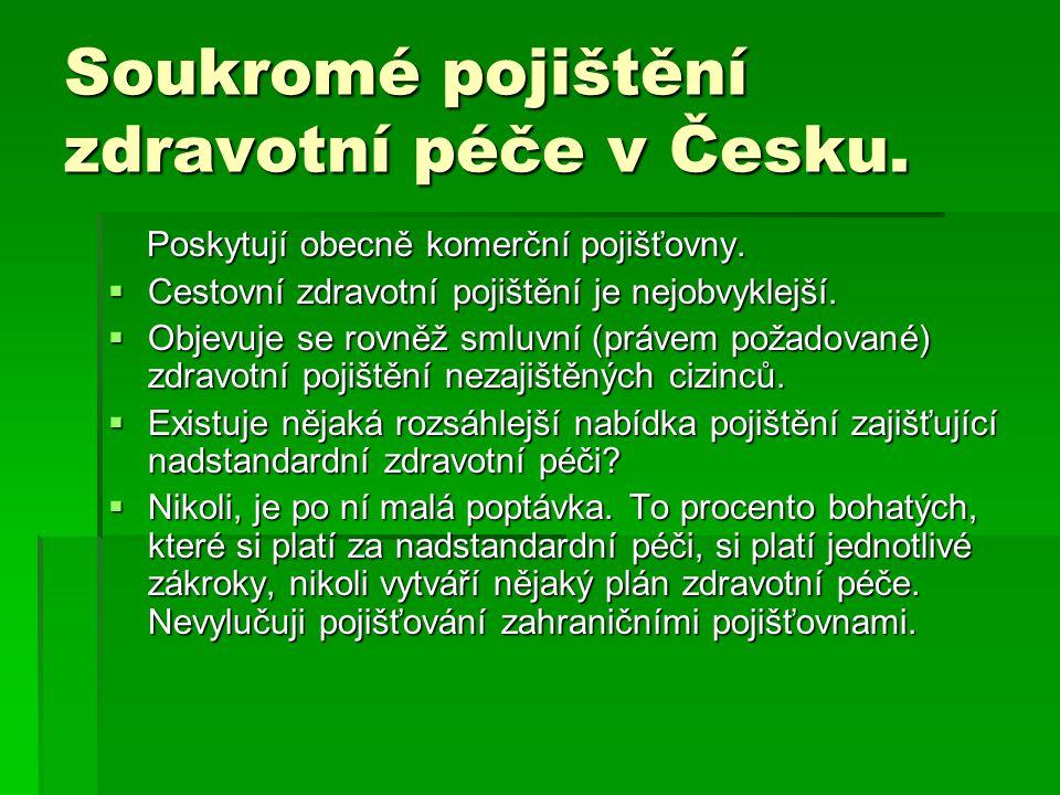 Soukromé pojištění zdravotní péče v Česku. Poskytují obecně komerční pojišťovny. Poskytují obecně komerční pojišťovny.  Cestovní zdravotní pojištění