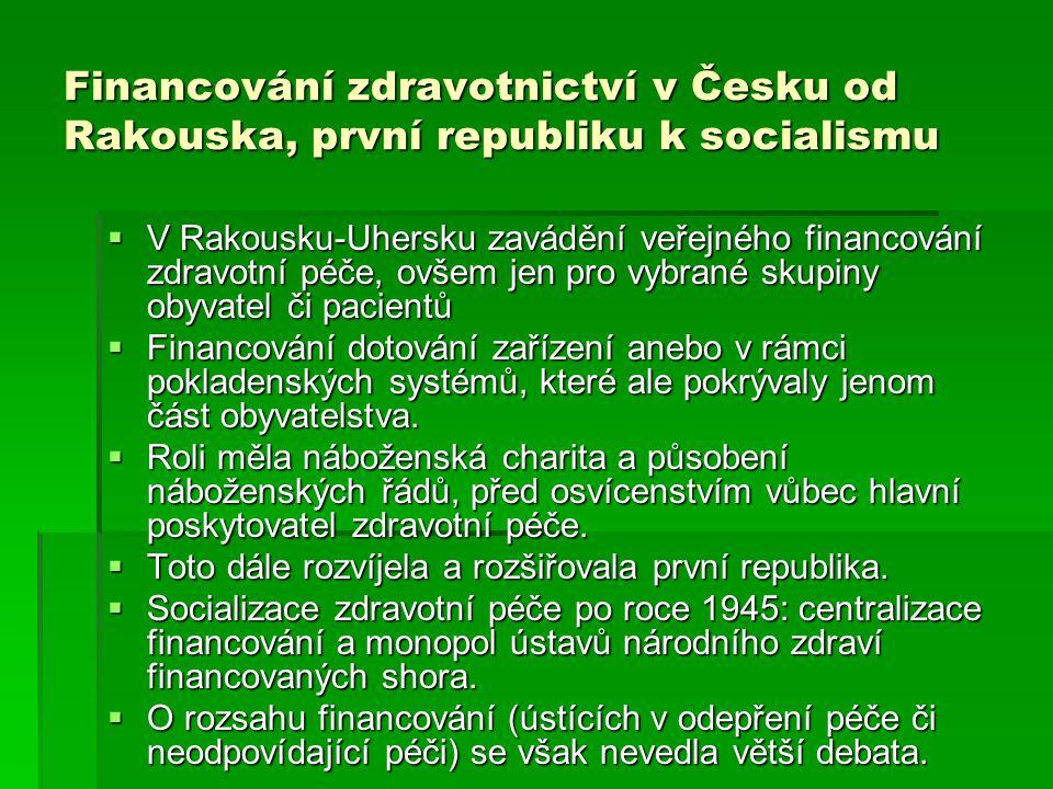 Financování zdravotnictví v Česku od Rakouska, první republiku k socialismu  V Rakousku-Uhersku zavádění veřejného financování zdravotní péče, ovšem
