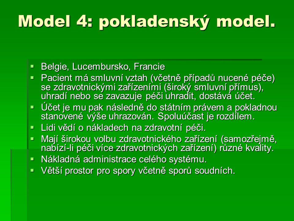 Model 4: pokladenský model.  Belgie, Lucembursko, Francie  Pacient má smluvní vztah (včetně případů nucené péče) se zdravotnickými zařízeními (širok