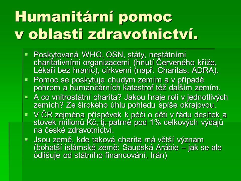Humanitární pomoc v oblasti zdravotnictví.  Poskytovaná WHO, OSN, státy, nestátními charitativními organizacemi (hnutí Červeného kříže, Lékaři bez hr