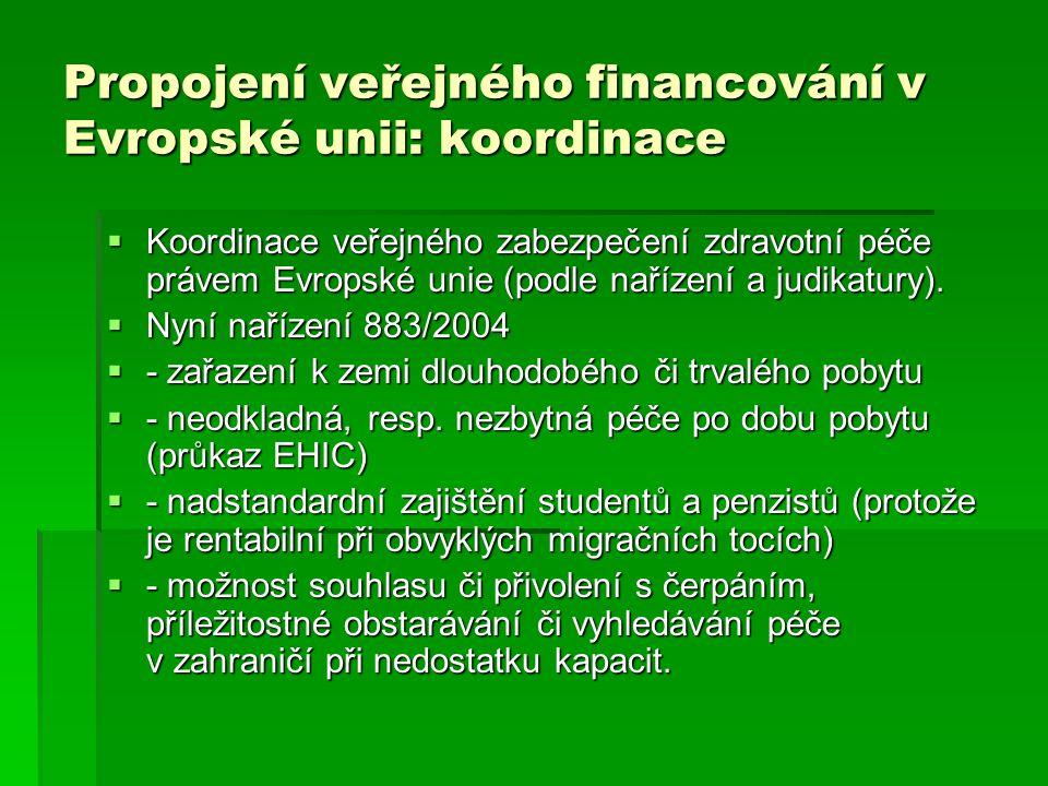 Propojení veřejného financování v Evropské unii: koordinace  Koordinace veřejného zabezpečení zdravotní péče právem Evropské unie (podle nařízení a j