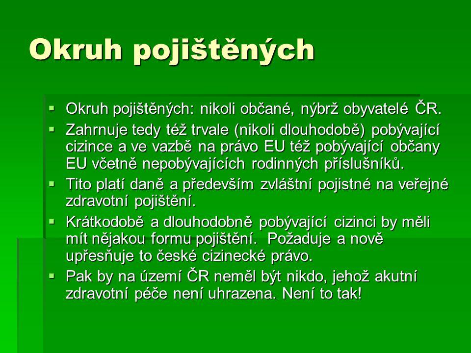 Okruh pojištěných  Okruh pojištěných: nikoli občané, nýbrž obyvatelé ČR.  Zahrnuje tedy též trvale (nikoli dlouhodobě) pobývající cizince a ve vazbě
