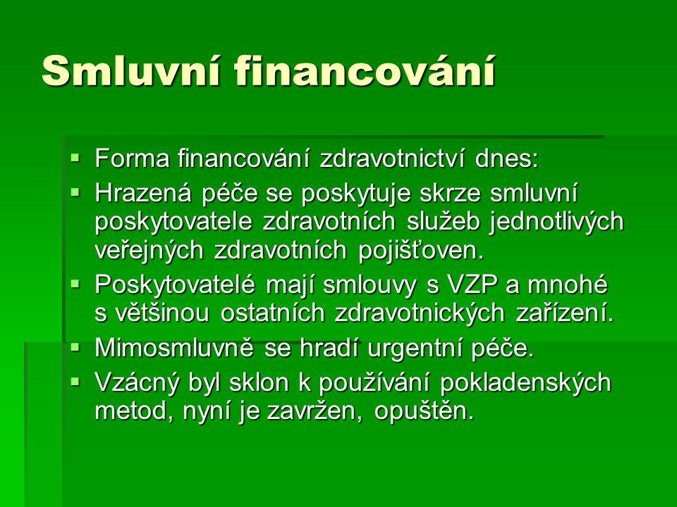 Smluvní financování  Forma financování zdravotnictví dnes:  Hrazená péče se poskytuje skrze smluvní poskytovatele zdravotních služeb jednotlivých ve