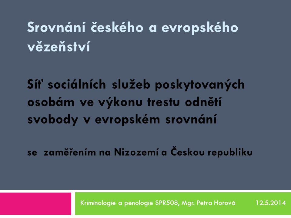 Srovnání českého a evropského vězeňství Síť sociálních služeb poskytovaných osobám ve výkonu trestu odnětí svobody v evropském srovnání se zaměřením na Nizozemí a Českou republiku Kriminologie a penologie SPR508, Mgr.