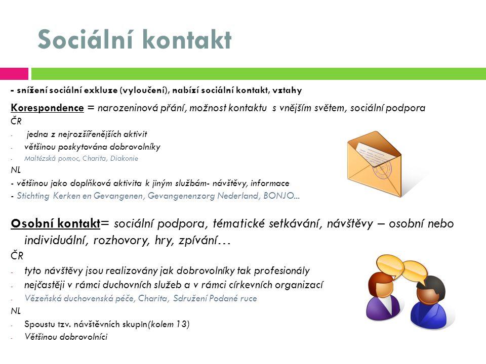 Sociální kontakt - snížení sociální exkluze (vyloučení), nabízí sociální kontakt, vztahy Korespondence = narozeninová přání, možnost kontaktu s vnějším světem, sociální podpora ČR - jedna z nejrozšířenějších aktivit - většinou poskytována dobrovolníky - Maltézská pomoc, Charita, Diakonie NL - většinou jako doplňková aktivita k jiným službám- návštěvy, informace - Stichting Kerken en Gevangenen, Gevangenenzorg Nederland, BONJO...