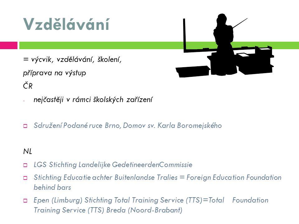 Vzdělávání = výcvik, vzdělávání, školení, příprava na výstup ČR - nejčastěji v rámci školských zařízení  Sdružení Podané ruce Brno, Domov sv.