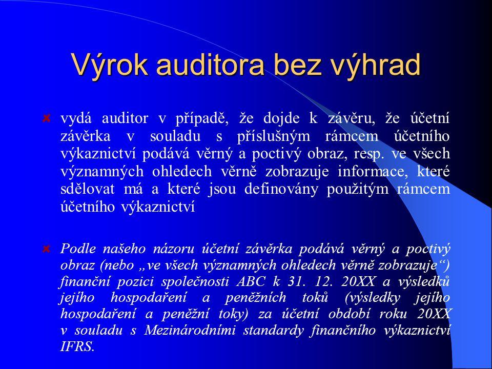 Výrok auditora bez výhrad vydá auditor v případě, že dojde k závěru, že účetní závěrka v souladu s příslušným rámcem účetního výkaznictví podává věrný