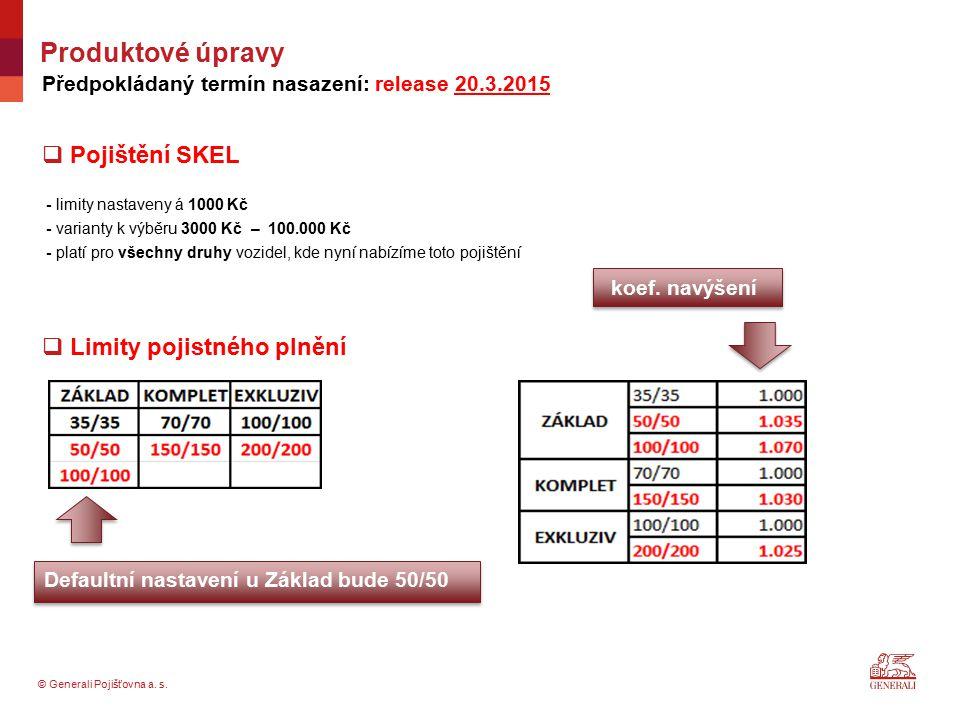 © Generali Pojišťovna a. s. Předpokládaný termín nasazení: release 20.3.2015  Pojištění SKEL - limity nastaveny á 1000 Kč - varianty k výběru 3000 Kč