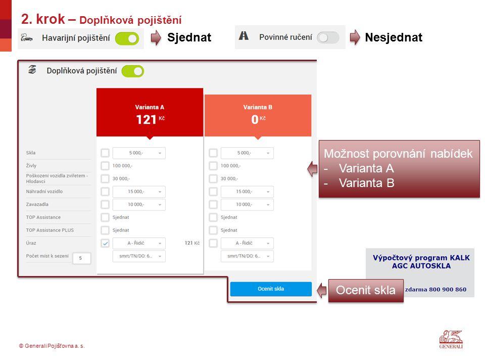 © Generali Pojišťovna a. s. 2. krok – Doplňková pojištění SjednatNesjednat Možnost porovnání nabídek -Varianta A -Varianta B Ocenit skla