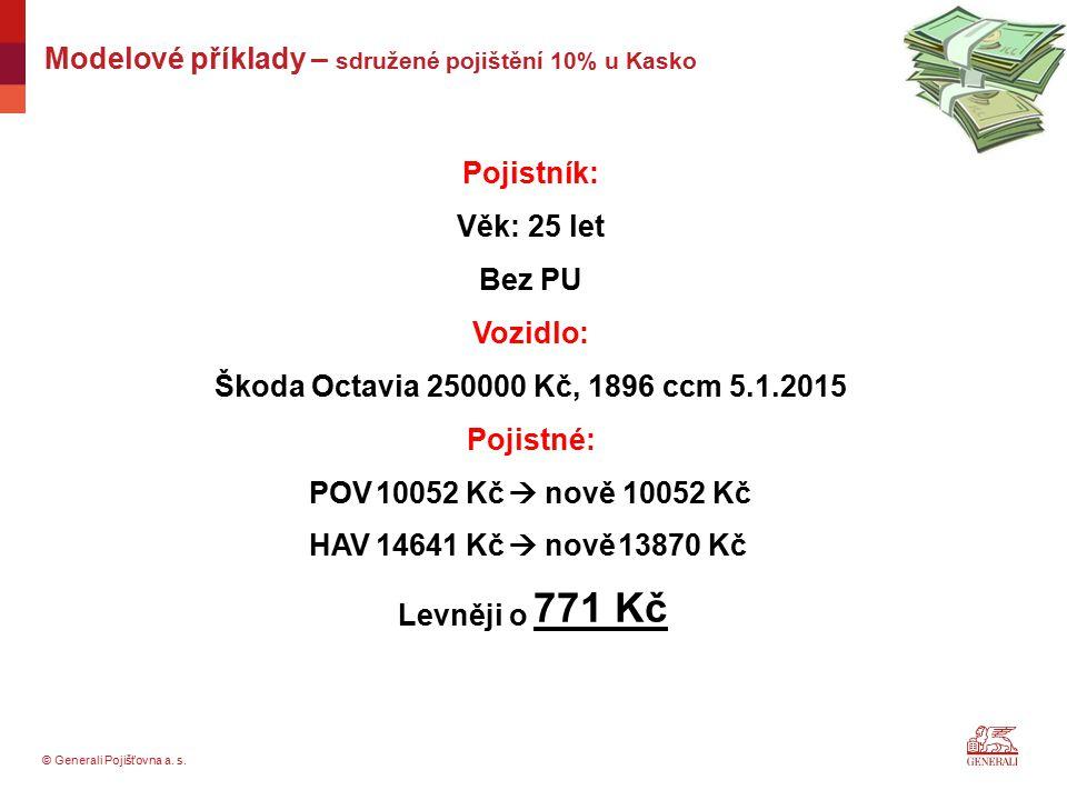 © Generali Pojišťovna a. s. Pojistník: Věk: 25 let Bez PU Vozidlo: Škoda Octavia 250000 Kč, 1896 ccm 5.1.2015 Pojistné: Levněji o Modelové příklady –