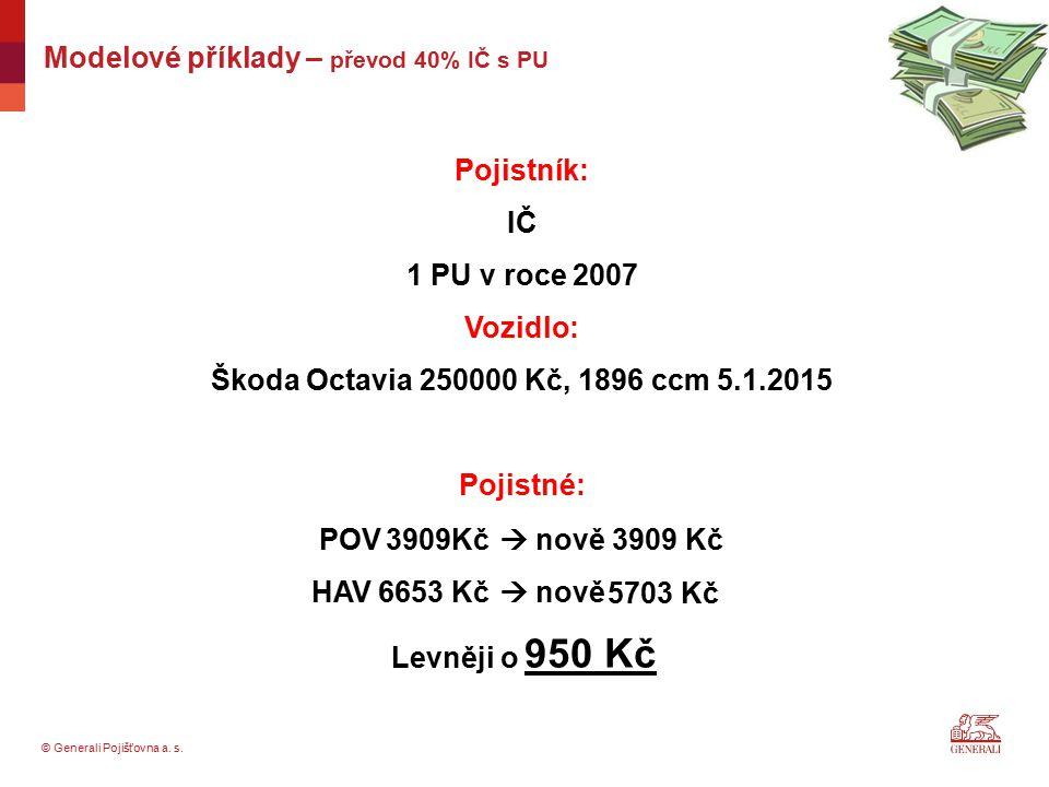 © Generali Pojišťovna a. s. Pojistník: IČ 1 PU v roce 2007 Vozidlo: Škoda Octavia 250000 Kč, 1896 ccm 5.1.2015 Pojistné: Levněji o Modelové příklady –