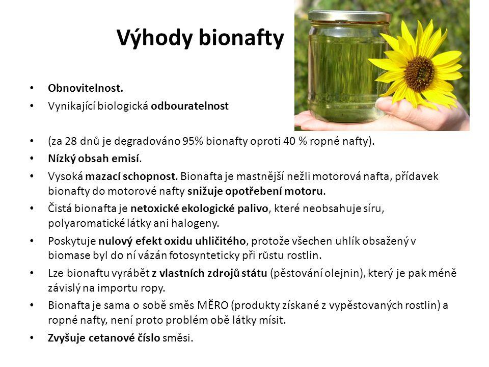 Výhody bionafty Obnovitelnost. Vynikající biologická odbouratelnost (za 28 dnů je degradováno 95% bionafty oproti 40 % ropné nafty). Nízký obsah emisí