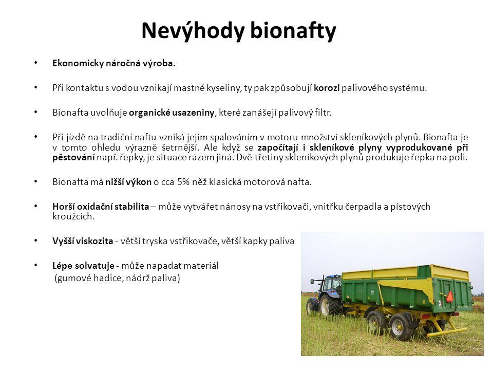 Nevýhody bionafty Ekonomicky náročná výroba. Při kontaktu s vodou vznikají mastné kyseliny, ty pak způsobují korozi palivového systému. Bionafta uvolň