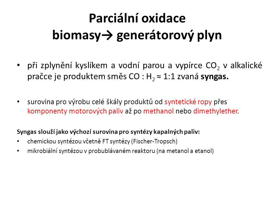 při zplynění kyslíkem a vodní parou a vypírce CO 2 v alkalické pračce je produktem směs CO : H 2 ≈ 1:1 zvaná syngas.
