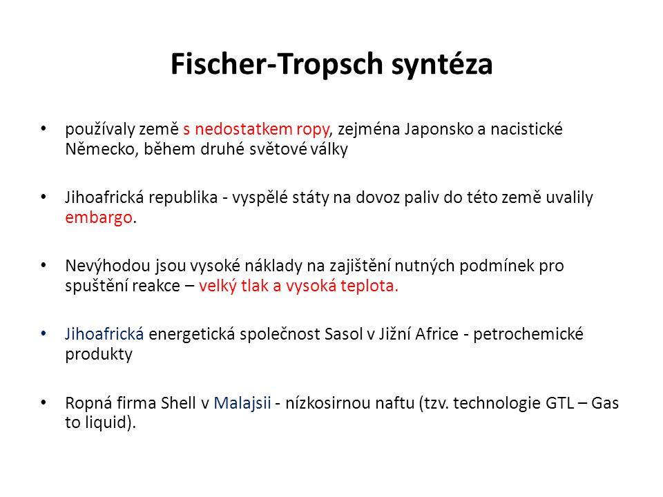 Fischer-Tropsch syntéza používaly země s nedostatkem ropy, zejména Japonsko a nacistické Německo, během druhé světové války Jihoafrická republika - vyspělé státy na dovoz paliv do této země uvalily embargo.