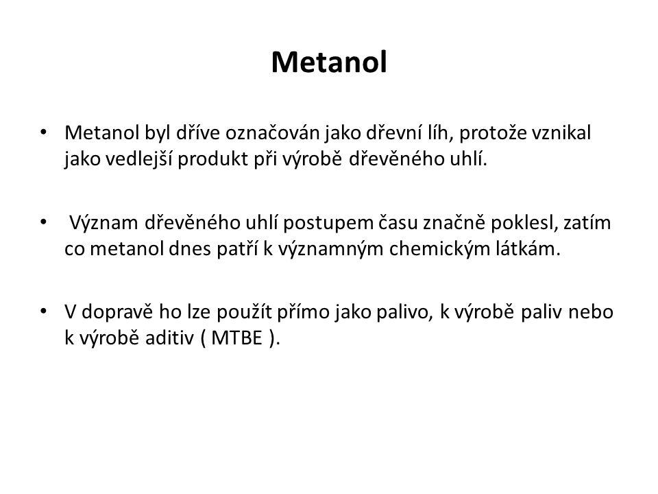 Metanol Metanol byl dříve označován jako dřevní líh, protože vznikal jako vedlejší produkt při výrobě dřevěného uhlí.