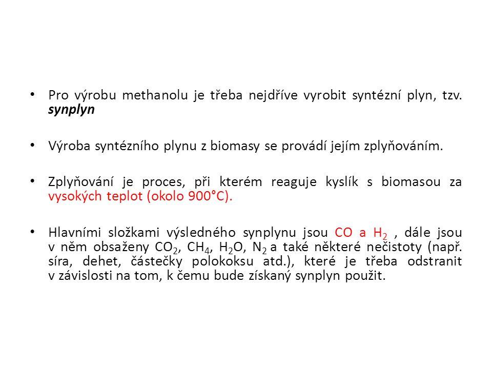 Pro výrobu methanolu je třeba nejdříve vyrobit syntézní plyn, tzv. synplyn Výroba syntézního plynu z biomasy se provádí jejím zplyňováním. Zplyňování