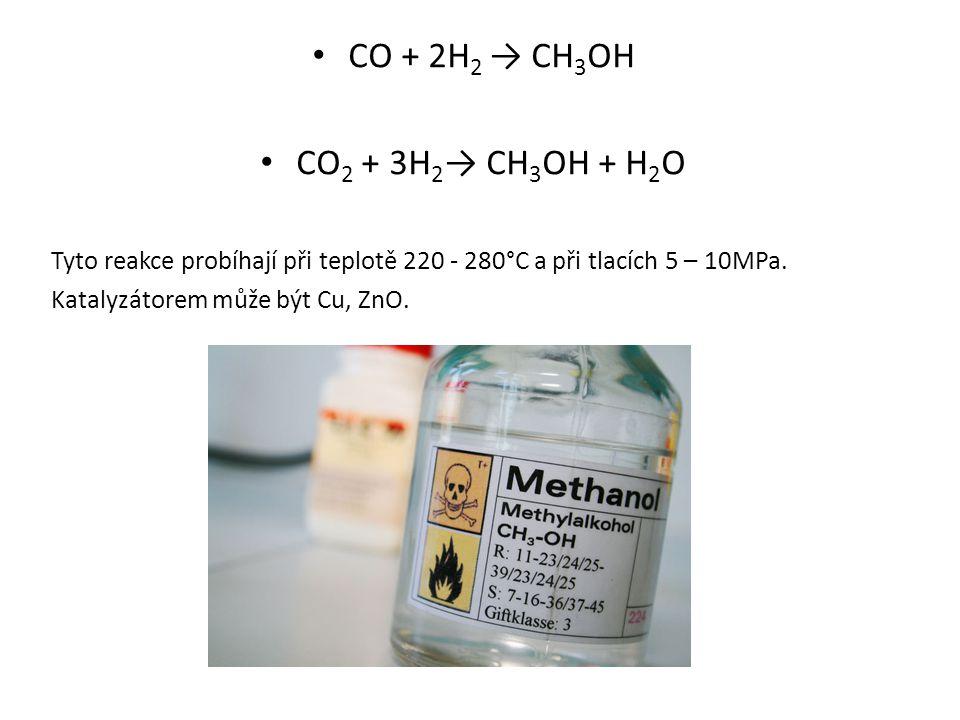 CO + 2H 2 → CH 3 OH CO 2 + 3H 2 → CH 3 OH + H 2 O Tyto reakce probíhají při teplotě 220 - 280°C a při tlacích 5 – 10MPa. Katalyzátorem může být Cu, Zn