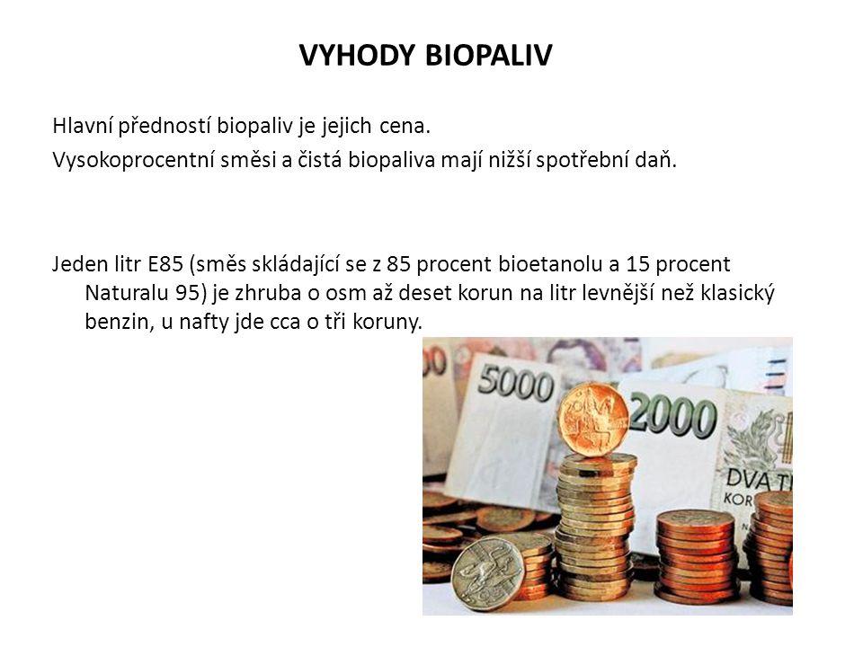 VYHODY BIOPALIV Hlavní předností biopaliv je jejich cena. Vysokoprocentní směsi a čistá biopaliva mají nižší spotřební daň. Jeden litr E85 (směs sklád
