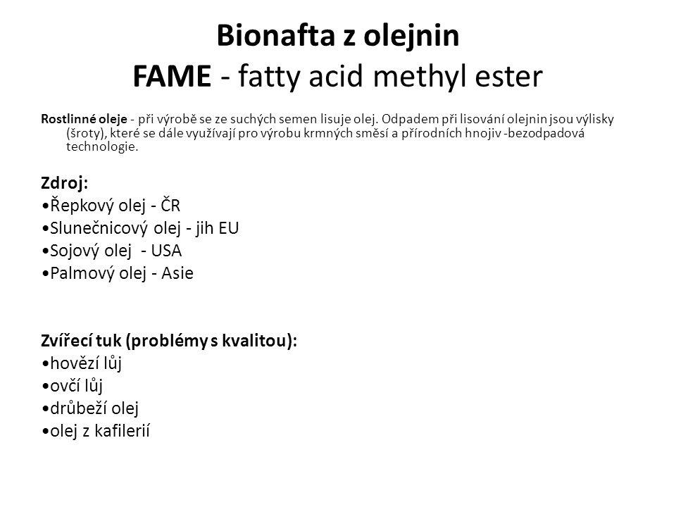 Bionafta z olejnin FAME - fatty acid methyl ester Rostlinné oleje - při výrobě se ze suchých semen lisuje olej. Odpadem při lisování olejnin jsou výli