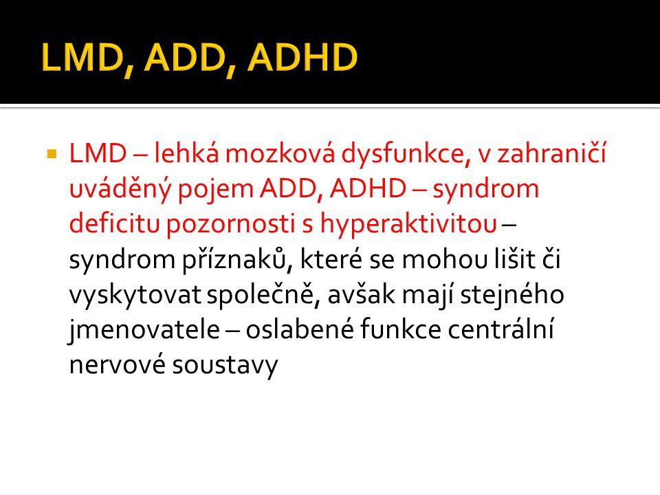  LMD – lehká mozková dysfunkce, v zahraničí uváděný pojem ADD, ADHD – syndrom deficitu pozornosti s hyperaktivitou – syndrom příznaků, které se mohou
