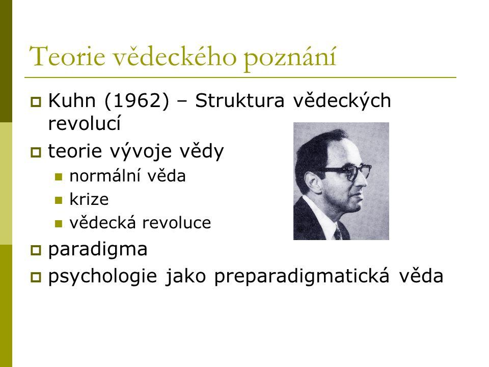 Teorie vědeckého poznání  Kuhn (1962) – Struktura vědeckých revolucí  teorie vývoje vědy normální věda krize vědecká revoluce  paradigma  psychologie jako preparadigmatická věda