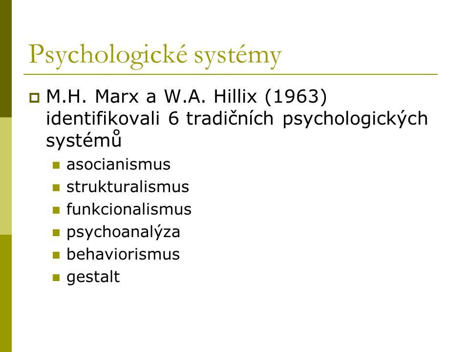 Psychologické systémy  M.H.Marx a W.A.