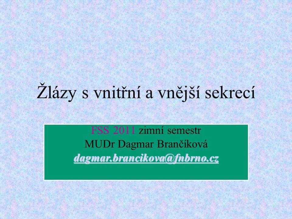 Žlázy s vnitřní a vnější sekrecí FSS 2011 zimní semestr MUDr Dagmar Brančíková dagmar.brancikova@fnbrno.cz