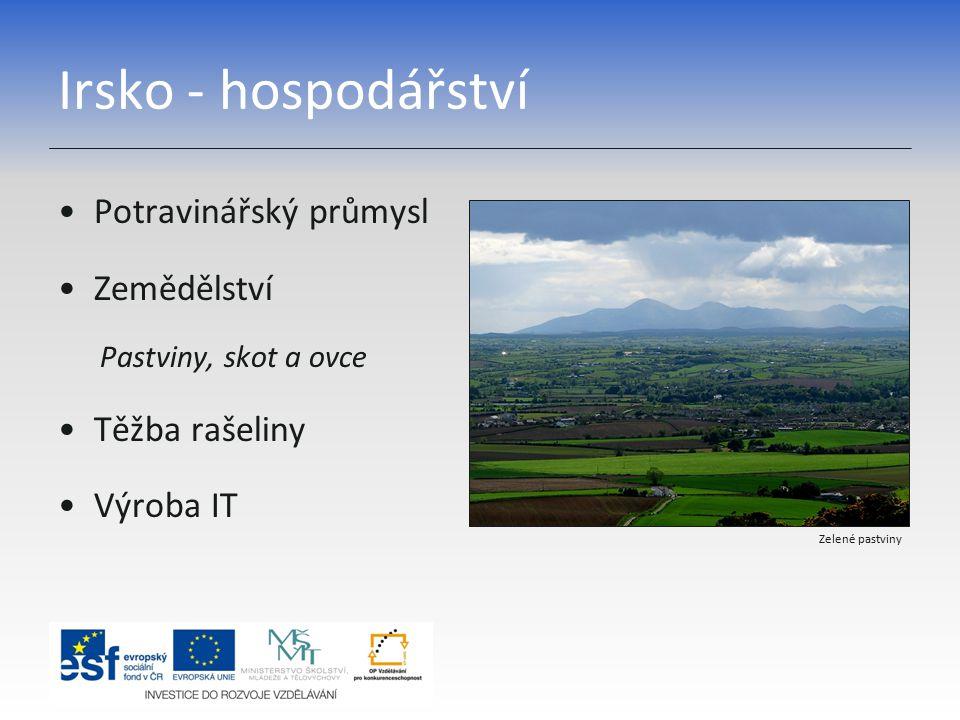 Irsko - hospodářství Potravinářský průmysl Zemědělství Pastviny, skot a ovce Těžba rašeliny Výroba IT Zelené pastviny