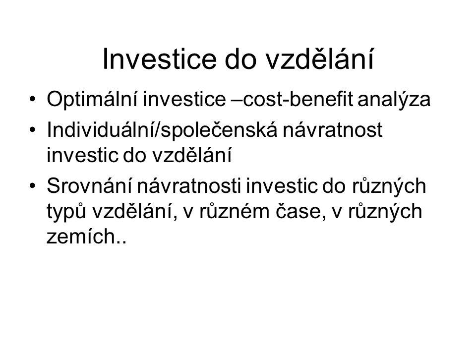 Investice do vzdělání Optimální investice –cost-benefit analýza Individuální/společenská návratnost investic do vzdělání Srovnání návratnosti investic do různých typů vzdělání, v různém čase, v různých zemích..