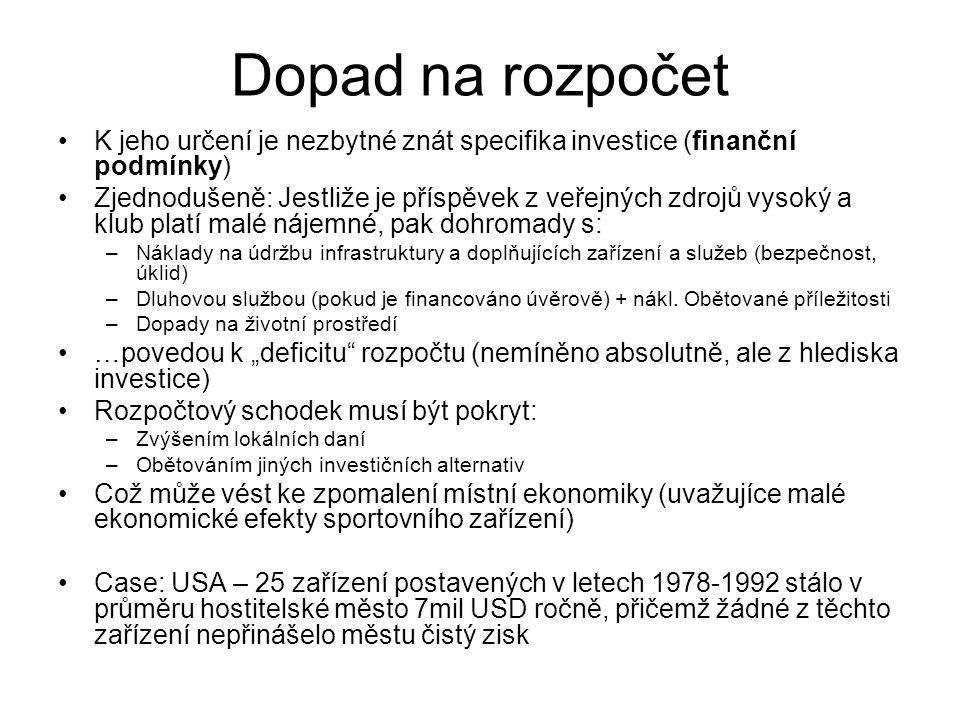 Dopad na rozpočet K jeho určení je nezbytné znát specifika investice (finanční podmínky) Zjednodušeně: Jestliže je příspěvek z veřejných zdrojů vysoký a klub platí malé nájemné, pak dohromady s: –Náklady na údržbu infrastruktury a doplňujících zařízení a služeb (bezpečnost, úklid) –Dluhovou službou (pokud je financováno úvěrově) + nákl.