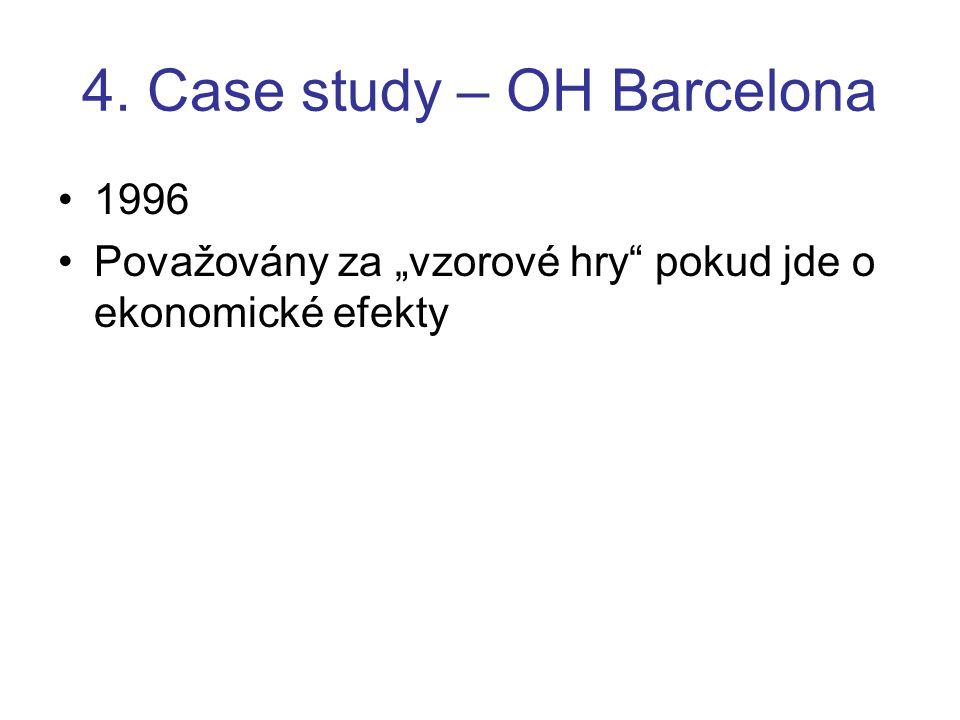 """4. Case study – OH Barcelona 1996 Považovány za """"vzorové hry"""" pokud jde o ekonomické efekty"""