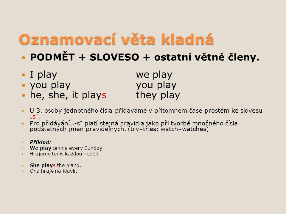 Oznamovací věta kladná PODMĚT + SLOVESO + ostatní větné členy. I playwe play you playyou play he, she, it playsthey play U 3. osoby jednotného čísla p