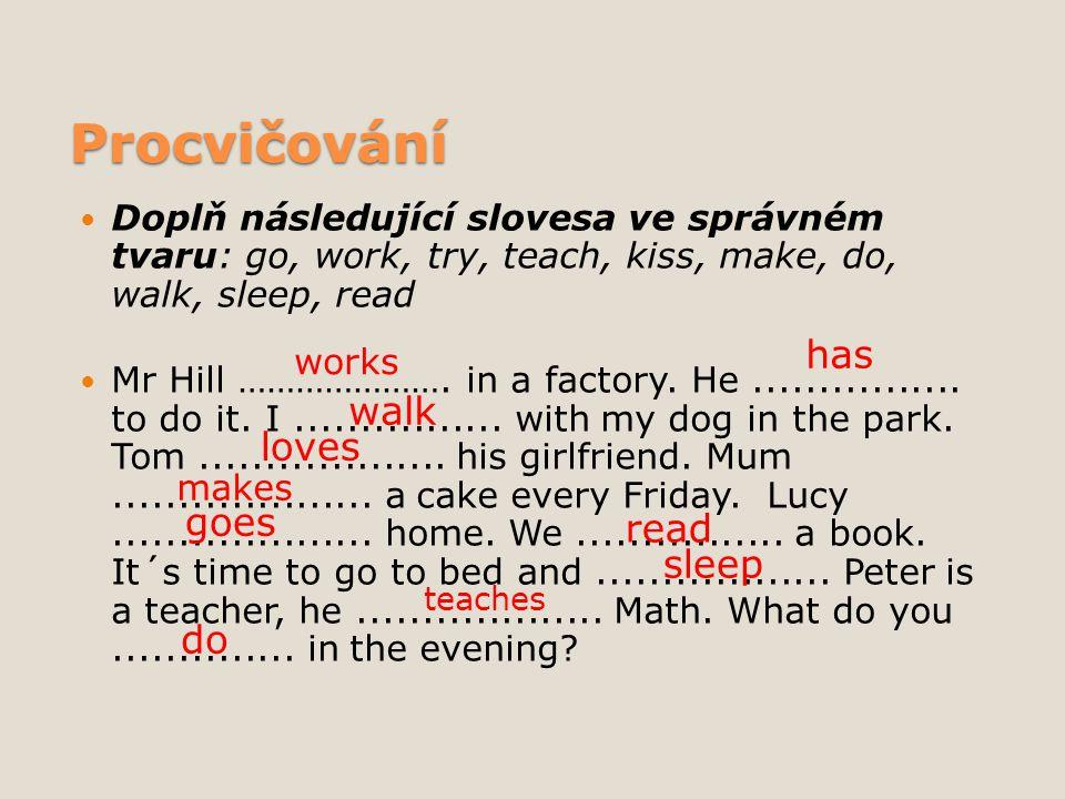 Procvičování Doplň následující slovesa ve správném tvaru: go, work, try, teach, kiss, make, do, walk, sleep, read Mr Hill …………………. in a factory. He...