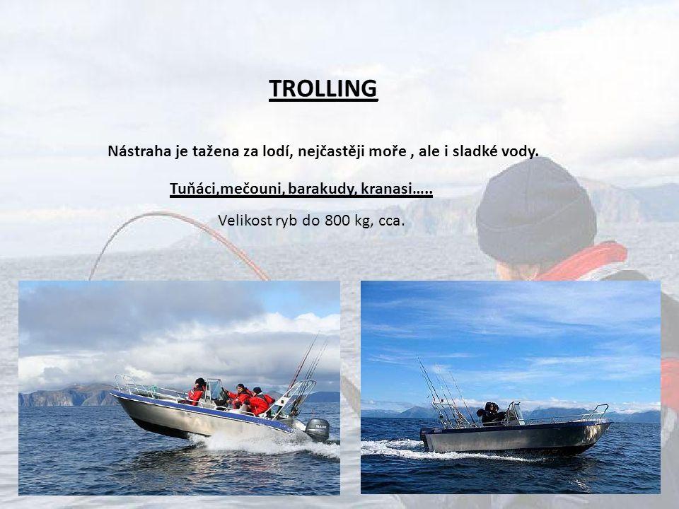 TROLLING Nástraha je tažena za lodí, nejčastěji moře, ale i sladké vody. Velikost ryb do 800 kg, cca. Tuňáci,mečouni, barakudy, kranasi…..