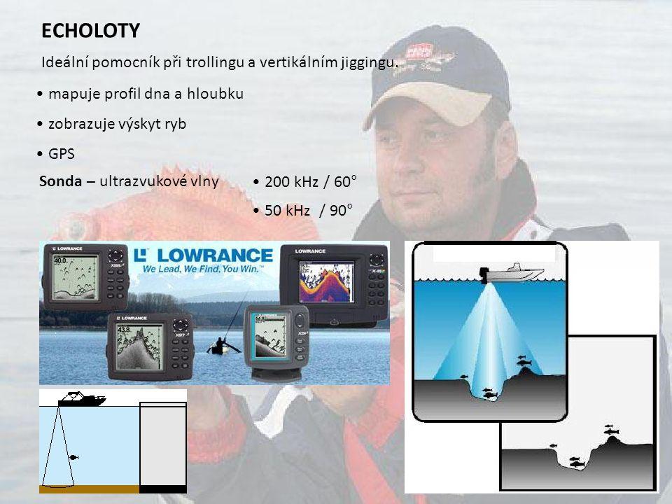 ECHOLOTY Ideální pomocník při trollingu a vertikálním jiggingu. mapuje profil dna a hloubku zobrazuje výskyt ryb GPS Sonda – ultrazvukové vlny 200 kHz
