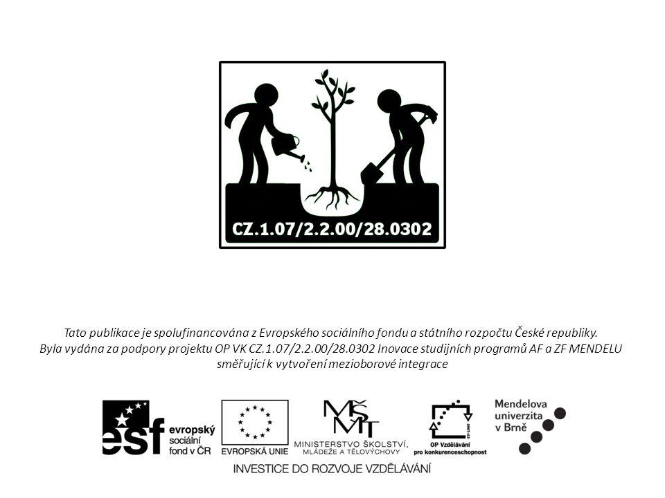Tato publikace je spolufinancována z Evropského sociálního fondu a státního rozpočtu České republiky. Byla vydána za podpory projektu OP VK CZ.1.07/2.