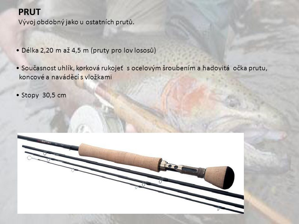 Délka 2,20 m až 4,5 m (pruty pro lov lososů) Současnost uhlík, korková rukojeť s ocelovým šroubením a hadovitá očka prutu, koncové a naváděcí s vložkami Stopy 30,5 cm PRUT Vývoj obdobný jako u ostatních prutů.