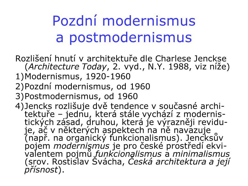 Pozdní modernismus a postmodernismus Rozlišení hnutí v architektuře dle Charlese Jenckse (Architecture Today, 2. vyd., N.Y. 1988, viz níže) 1)Modernis