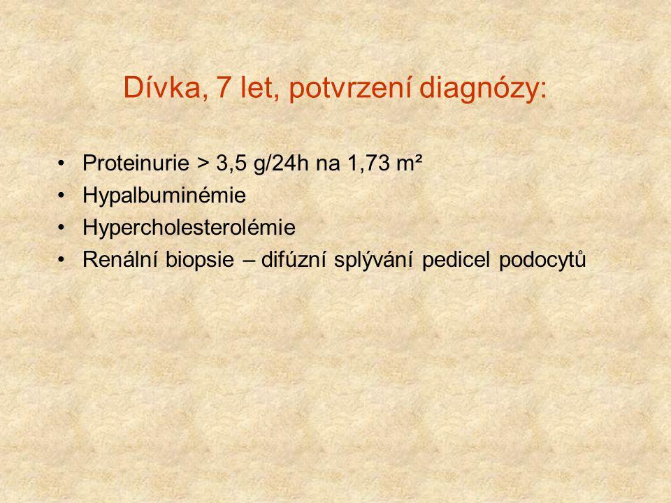 Dívka, 7 let, potvrzení diagnózy: Proteinurie > 3,5 g/24h na 1,73 m² Hypalbuminémie Hypercholesterolémie Renální biopsie – difúzní splývání pedicel po