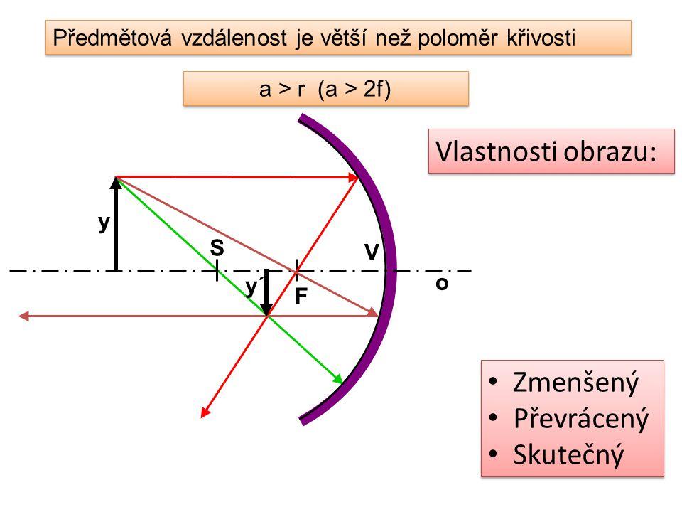 Předmětová vzdálenost je větší než poloměr křivosti a > r (a > 2f) o V S F y y´ Zmenšený Převrácený Skutečný Zmenšený Převrácený Skutečný Vlastnosti o