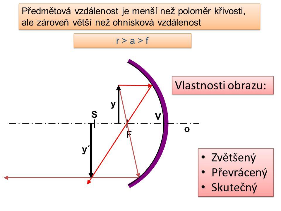 Předmětová vzdálenost je menší než poloměr křivosti, ale zároveň větší než ohnisková vzdálenost r > a > f Zvětšený Převrácený Skutečný Zvětšený Převrá