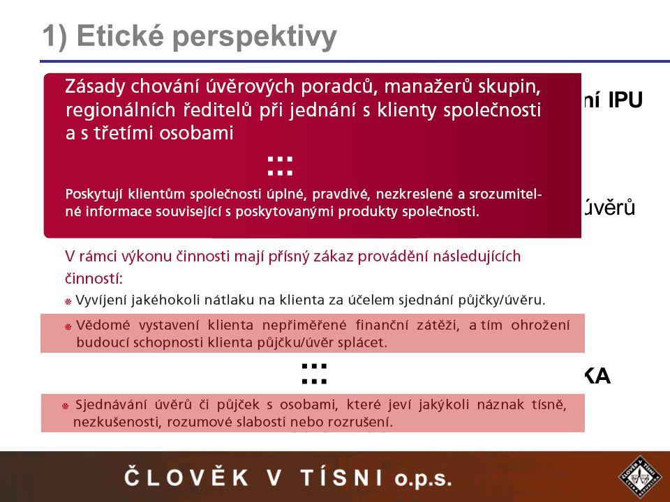 1) Etické perspektivy Etika NORMATIVNÍ – Index predátorského úvěrování IPU -politická, nikoli akademická konstrukce -zvýšení transparentnosti smluvních vztahů -eliminace neúměrných sankcí -nevyužívání rozhodčích doložek u spotřebitelských úvěrů Etika AUTONOMNÍ – Etické kodexy firem -velmi rozdílné přístupy jednotlivých firem -častý rozpor mezi kodexem a praxí NORMATIVNÍ ETIKA AUTONOMNÍ ETIKA mediální tlak